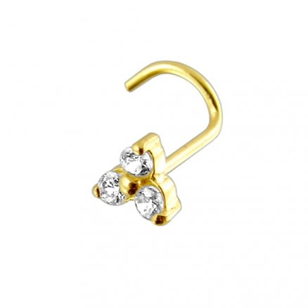 14K Gold Tri Flower Nose Screw