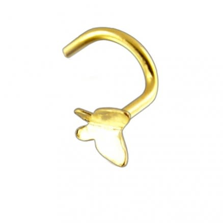 14K Gold Plain Butterfly Nose Screw