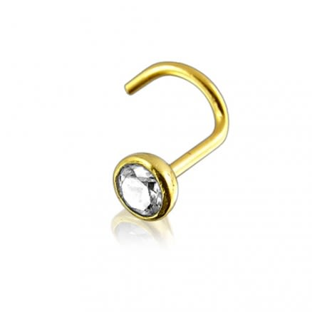 14K Gold Bezel set Jeweled Nose Screw