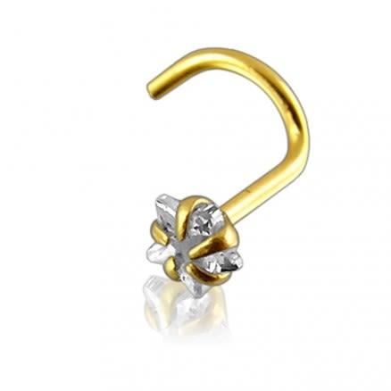 14K Gold 3mm Star Jeweled Nose Screw