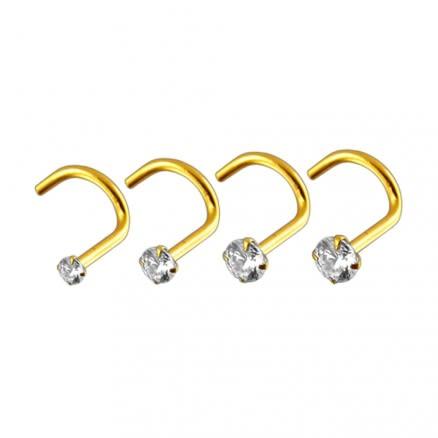 14K Gold CZ Set Nose Screw Body Jewelry