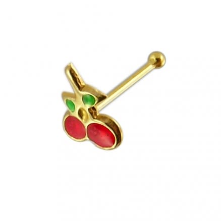 14K Gold Cherry Ball End Nose Pin