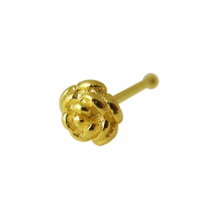 14K Gold Rose Ball End Nose Pin