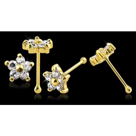 14K Gold Jeweled Nose Pin