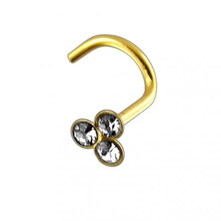 14K Gold Tri Jeweled Nose Screw