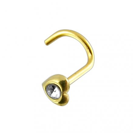 14K Gold Jeweled Heart Nose Screw