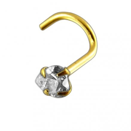 14K Gold Heart Jeweled Nose Screw