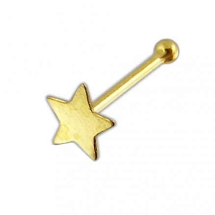 14K Gold Star Ball End Nose Pin