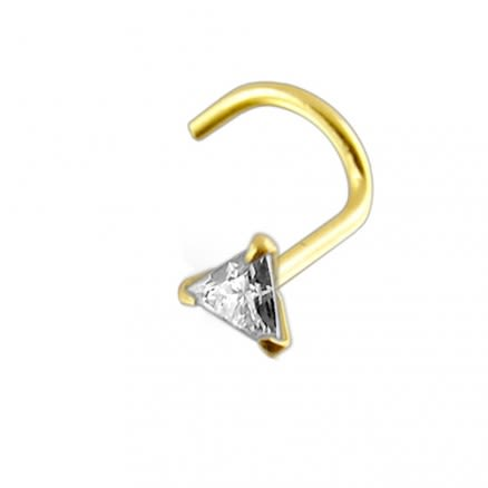 14K Gold Triangle Jeweled Nose Screw