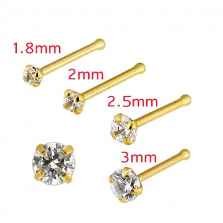 20G 14K Yellow Gold CZ Prong Setting Nose Stud