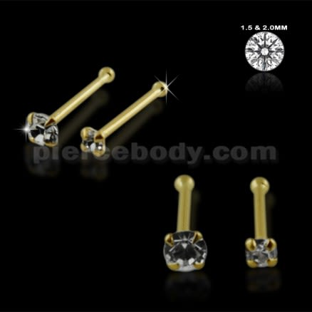 14K Gold Ball End Nose Pins in Mini Box