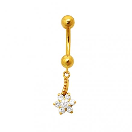 18K Gold Flower Dangling Belly Ring With Stones