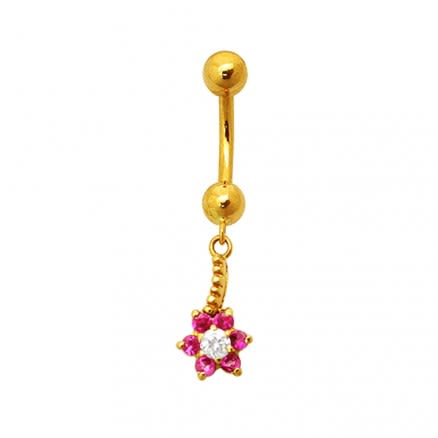 18K Gold Jeweled Flower Dangling Navel Ring