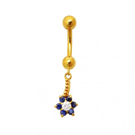 CZ Jeweled Flower Dangling 18K Yellow Gold Navel Ring