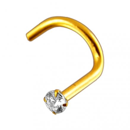 18K Solid Yellow Gold 1.5mm Jeweled Nose Screw