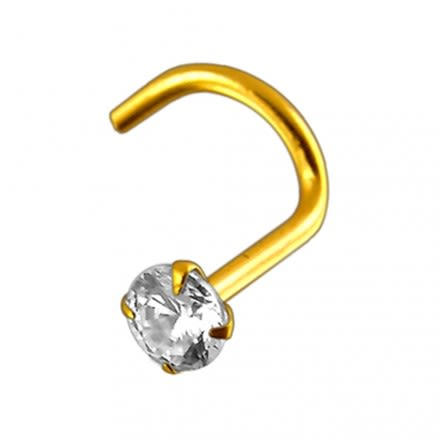 18K Solid Yellow Gold 2.5mm Jeweled Nose Screw