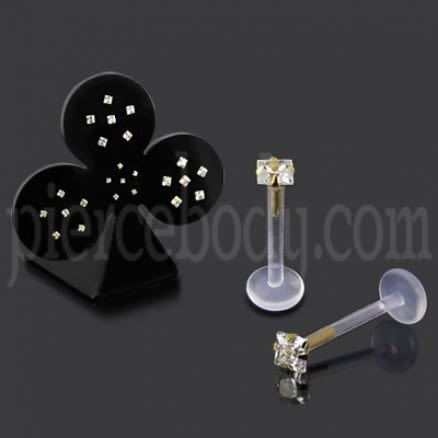 24 Pcs of Bio Flex Lip Labret with 14K Gold Head in a Display
