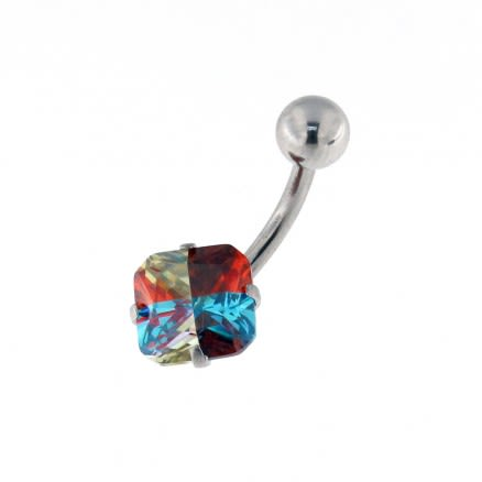 Jeweled Square 3D Color CZ Stone Navel Belly Ring