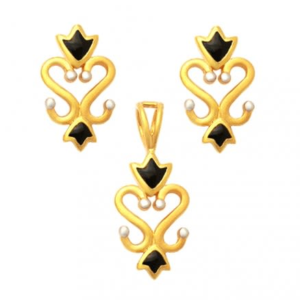 22K Enamaled Filigree Gold Set Jewelry