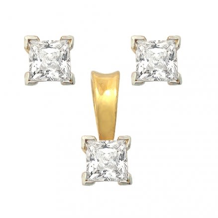22K 6mm Square Shaped Gold Set Jewelry