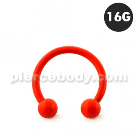 Neon Orange 316L Surgical Steel Circular Barbell with Ball