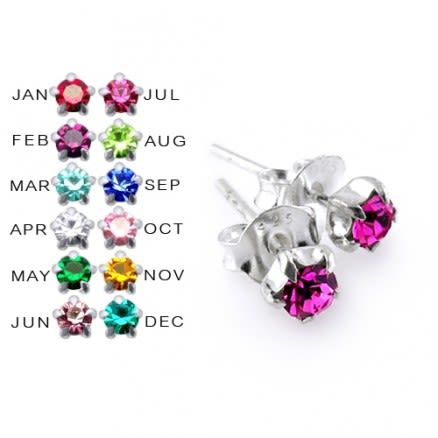 3MM Prong Set Birthstone Earring