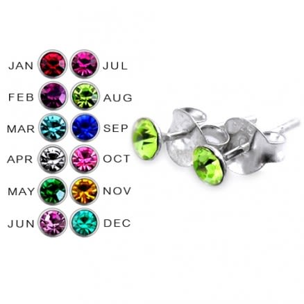 3MM Round Stone Birthstone Earring