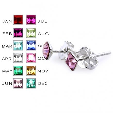 3MM Square Stone Birthstone Earring