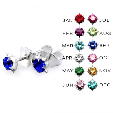 3MM Star Set  Birthstone Earring