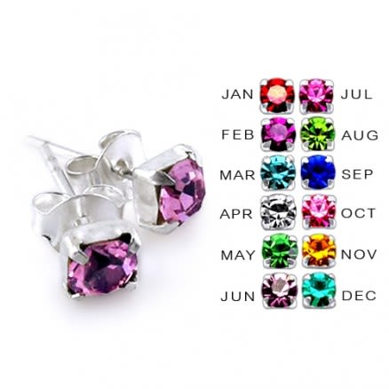 4mm Claw Set Birthstone Silver Earring