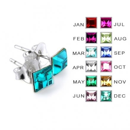 4MM Square Stone Birthstone Earring