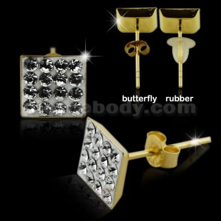 9K Gold Multi Jeweled Square Ear Stud