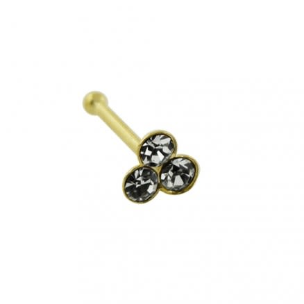 9K Jeweled Triple Stone Ball End Nose Pin