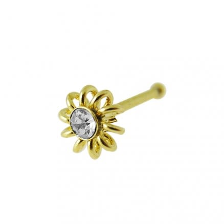 9K Jeweled Coiled Ball End Nose Pin