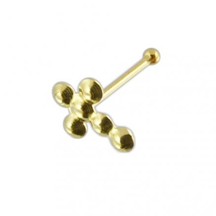 9K Gold Cross Ball End Nose Pin