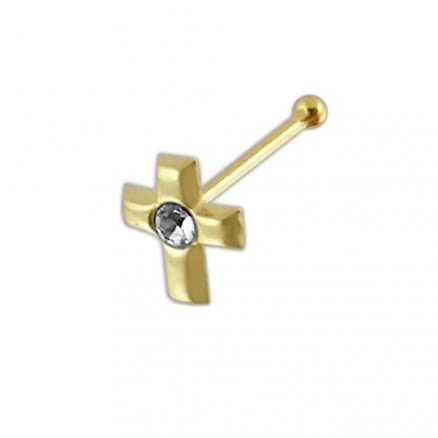9K Gold jeweled Cross Ball End Nose Pin