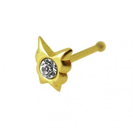 9K Gold Jeweled Butterfly Ball End Nose Pin