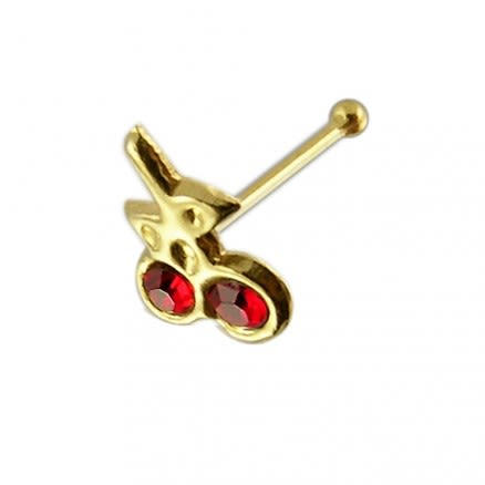 9K Gold Jeweled Cherry Ball End Nose Pin