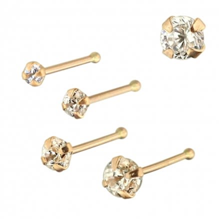 9K Solid Rose Gold Round Jeweled Nose Bone in Box