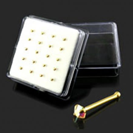 9K Gold Ball End jeweled Nose Pins in Mini Box