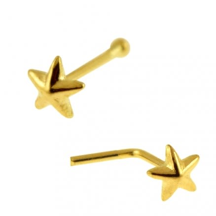 9K Solid Gold 3D Star Nose Studs