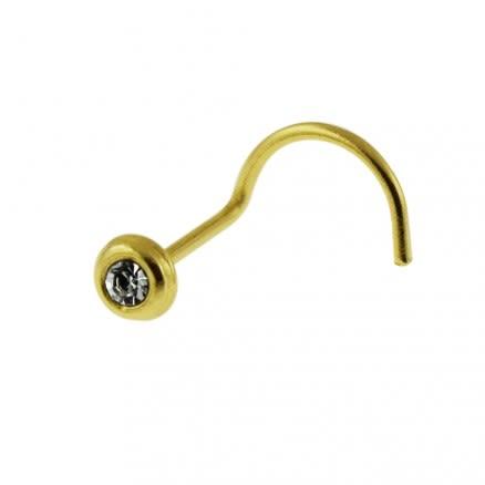 9K Solid Gold Bezel Set Jeweled Nose Studs