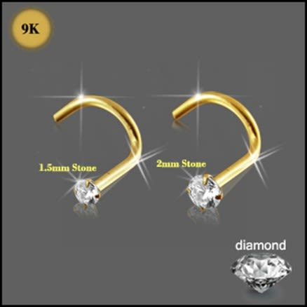 9K Gold with Genuine DIAMOND Nose Screw