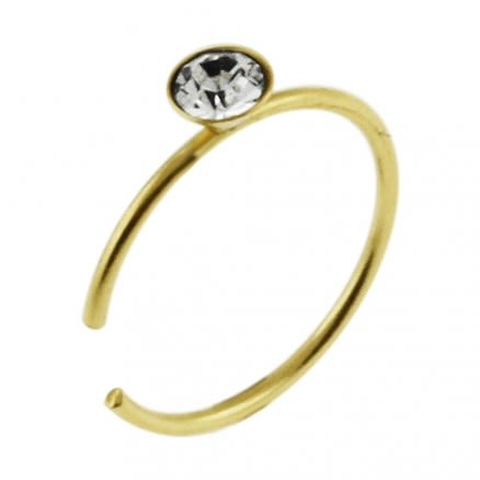 9K Gold Jeweled Open Hoop Nose Ring