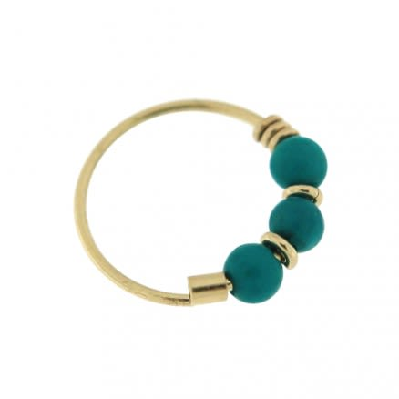 9K Yellow Gold Turquoise Beads Hoop Nose Ring