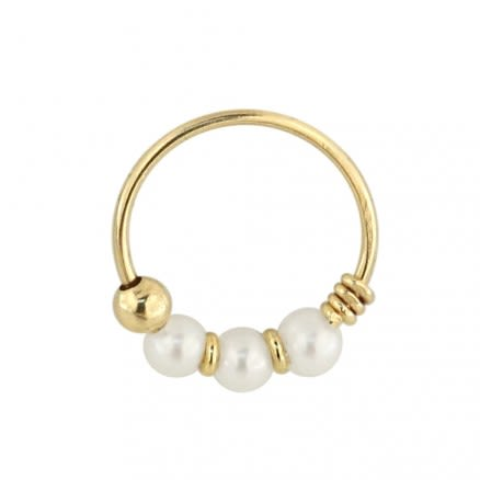 9K Yellow Gold Genuine Pearl Hoop Nose Ring