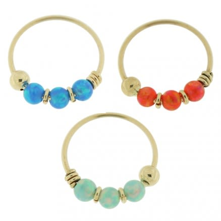 3 pieces 9K Yellow Gold Opal Stones Hoop Nose Ring in Box