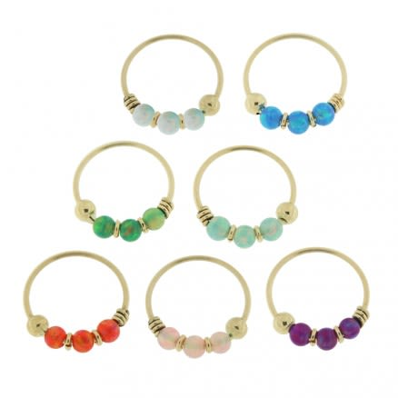 9K Yellow Gold Opal Stones Hoop Nose Ring