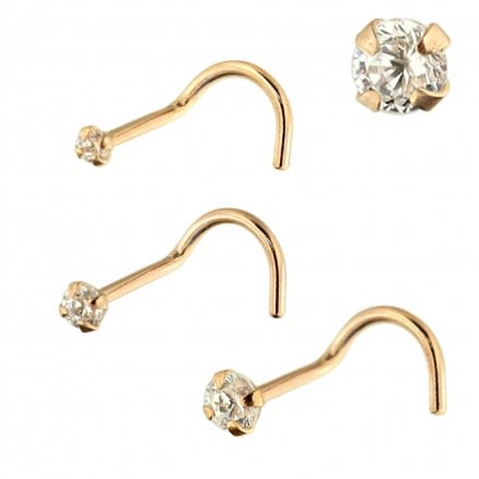 9K Solid Rose Gold Round CZ Jeweled Nose Screw in Box