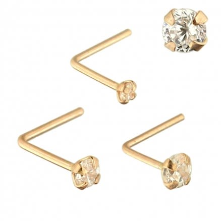 9K Solid Rose Gold L-Shaped Jeweled Nose Stud in Box